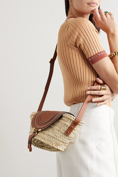 Chloe marcie small straw and textured-leather shoulder bag in tan