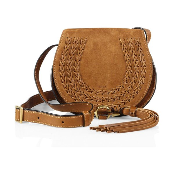 Chloe marcie small suede saddle crossbody bag in caramel - Iconic suede saddle bag with whipstitched leather trim....