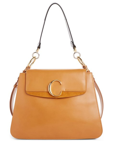 Chloe medium c leather shoulder bag in brown