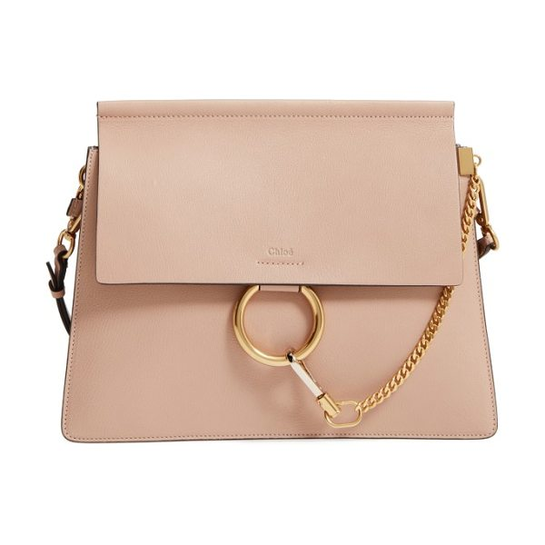 Chloe faye goatskin leather shoulder bag in biscotti beige - Iconic equestrian-inspired hardware gleams against the...