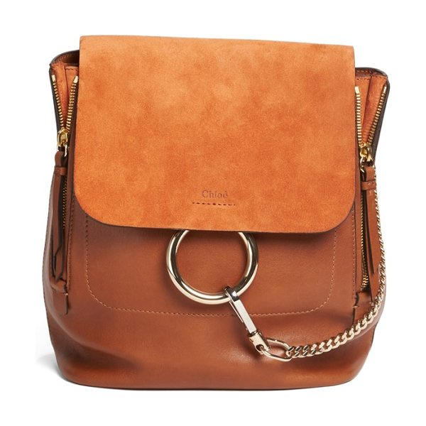 CHLOE medium faye suede & leather backpack - Iconic equestrian-inspired hardware gleams against the...
