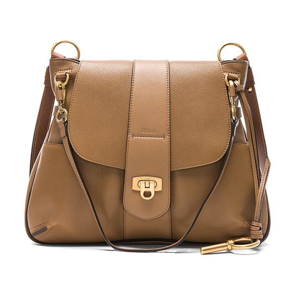 Chloe Medium Lexa Leather Shoulder Bag in nut - Lambskin leather with twill lining and brushed gold-tone...