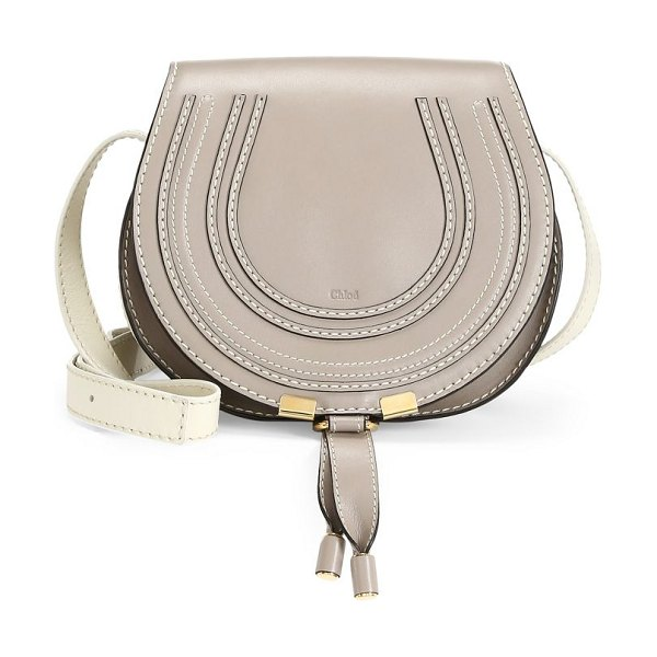 Chloe mini marcie leather saddle bag in beige
