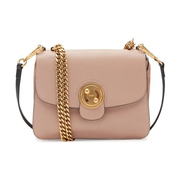 Chloe Milie Medium Turn-Lock Chain Shoulder Bag in light beige - Chloe goatskin and suede shoulder bag with golden...