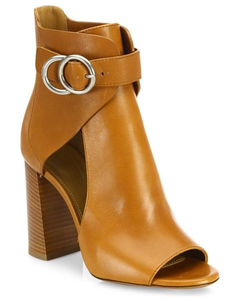 Chloe millie cutout leather block heel booties in tan - Sultry cutout leather peep-toe bootie with belted cuff....