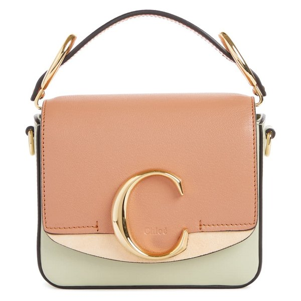 Chloe mini c tricolor convertible leather bag in beige