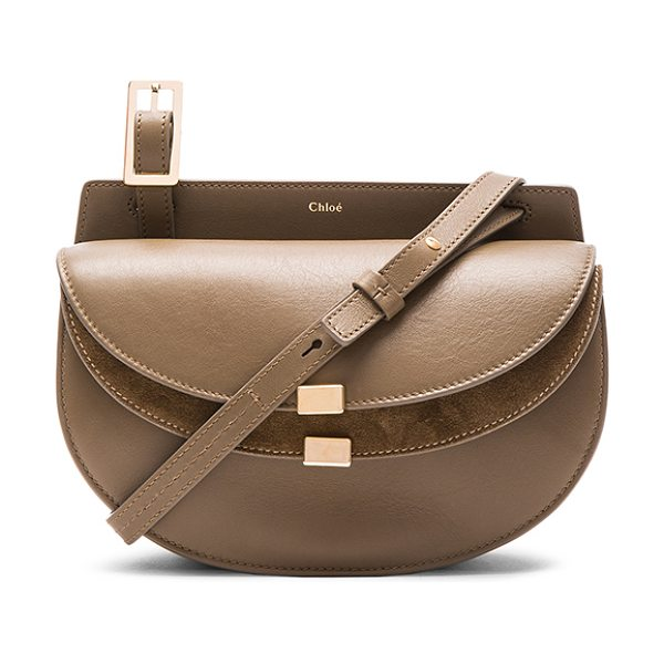 Chloe Mini calfskin & suede georgia bag in gray - Calfskin leather with raw lining and gold-tone hardware....