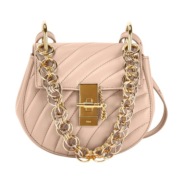 Chloe Mini Drew Bijou Shoulder Bag in light pink - Chloe quilted calfskin shoulder bag with golden...