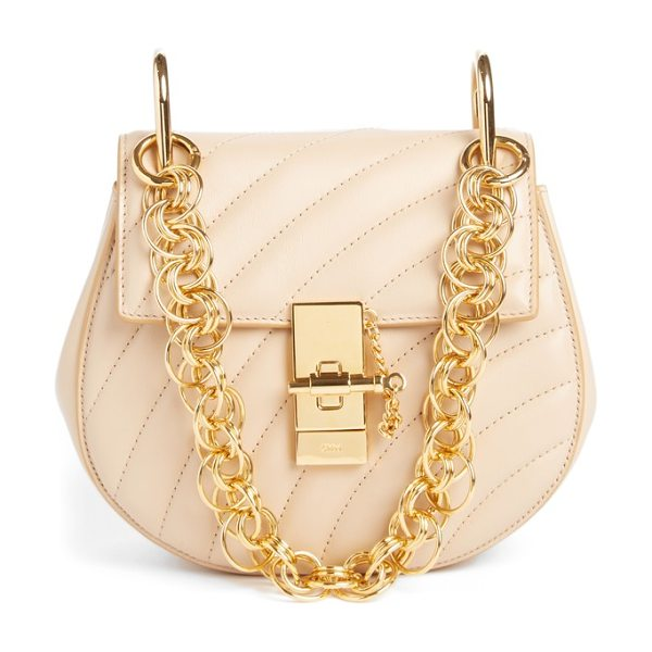 Chloe mini drew bijoux leather shoulder bag in pearl beige - A jewel box of a bag, this matelasse leather style...