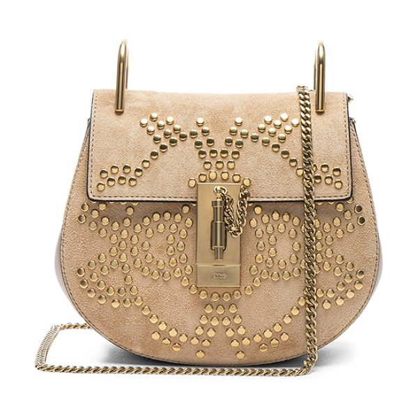 "Chloe Mini Drew Constellation Studded Suede Shoulder Bag in neutrals - ""Stud embellished calfskin suede with raw lining and..."