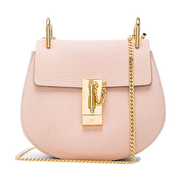 Chloe Mini Drew Leather Shoulder Bag in cement pink - Grained lambskin leather with calfskin suede lining and...