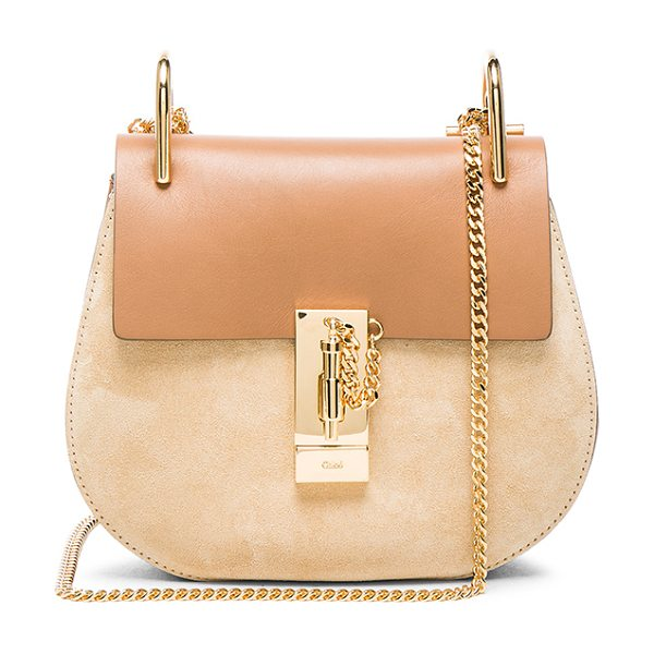 Chloe Mini Drew Leather & Suede Bag in neutrals - Calfskin leather and suede feature raw lining with...