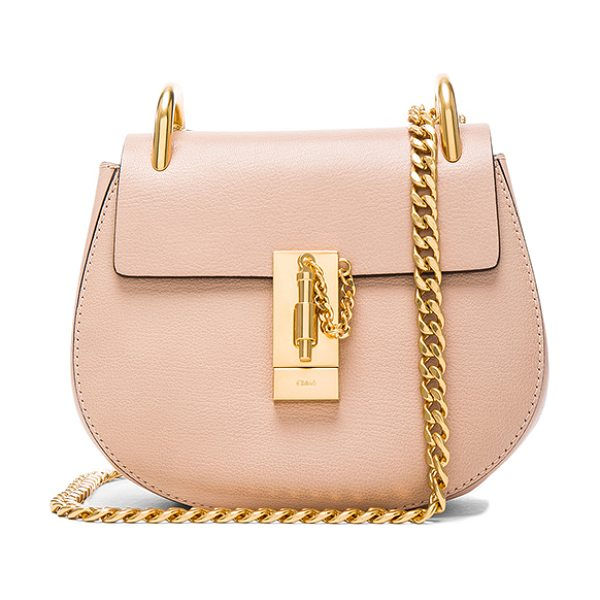 Chloe Mini Leather Drew Shoulder Bag in biscotti beige - Grained lambskin leather with calfskin suede lining and...