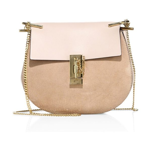 CHLOE mini drew suede and leather saddle bag - Iconic suede saddle bag with tonal leather flap....