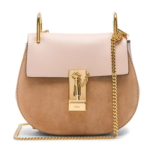 Chloe Mini Drew Calfskin & Suede Shoulder Bag in pink