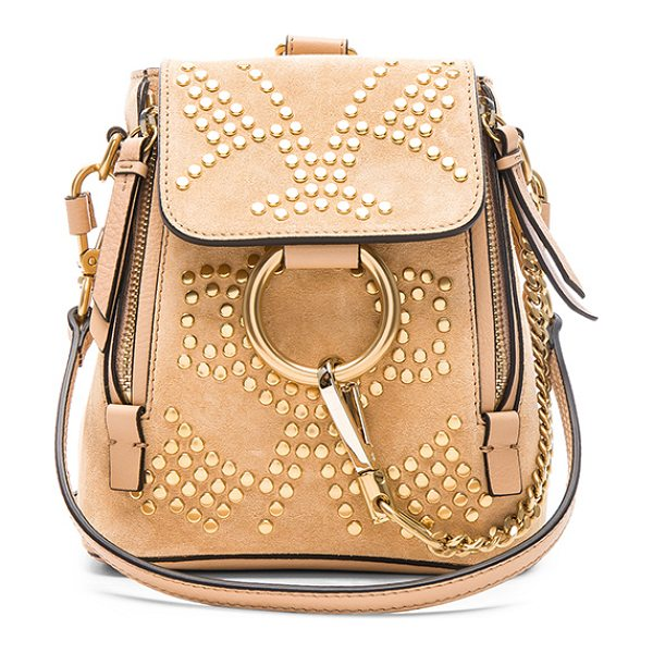 "Chloe Mini Faye Constellation Studded Suede Backpack in neutrals - ""Stud embellished calfskin suede with twill lining and..."