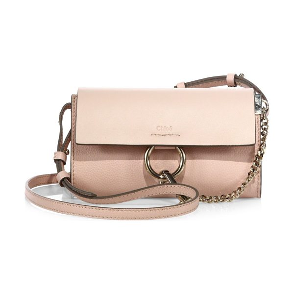 Chloe mini faye leather shoulder bag in cement pink - Iconic shoulder bag rendered in two-tone leather....