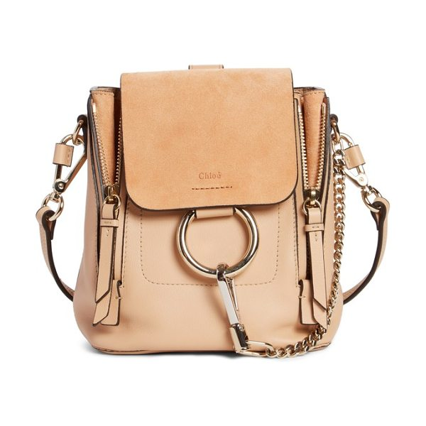 Chloe mini faye leather   suede backpack in blush nude - Iconic  equestrian-inspired hardware 48a3df5080