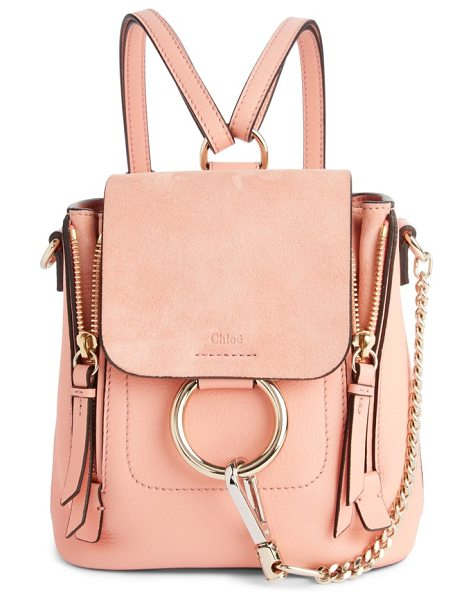 Chloe mini faye leather & suede backpack in ideal blush - Iconic equestrian-inspired hardware gleams against the...