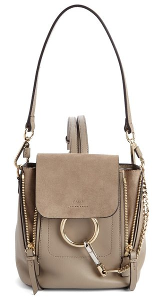 Chloe mini faye leather & suede backpack in blush nude - Iconic equestrian-inspired hardware gleams against the...