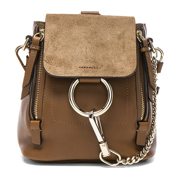 Chloe Mini Faye Suede & Leather Backpack in brown - Calfskin leather with twill lining and pale gold-tone...
