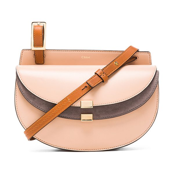 Chloe Mini georgia suede & leather bag in neutrals,brown - Lambskin leather with calfskin suede lining and...