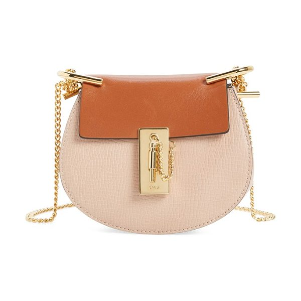 CHLOE Nano drew lambskin & calfskin leather shoulder bag in powder beige - Smooth lambskin and textured calfskin leather pair...