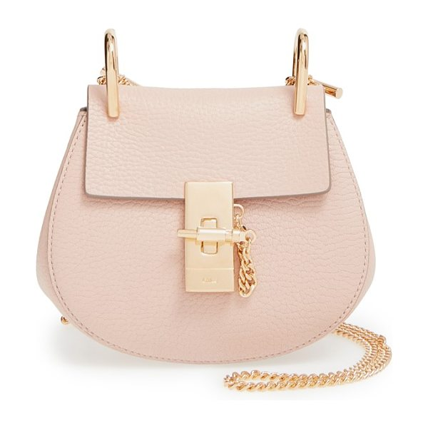 Chloe Nano drew lambskin leather shoulder bag in cement pink