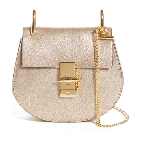 Chloe 'nano drew' metallic calfskin shoulder bag in abstract gold - Warm, gold-foiled calfskin accentuates the timeless...