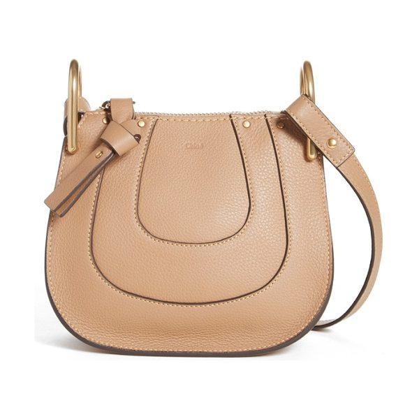 Chloe Nano hayley calfskin leather shoulder bag in nut - Curvaceous seaming ornaments the saddle-shaped...