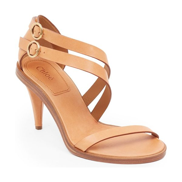 Chloe niko leather sandals in misty beige - Sultry leather sandal with duo of asymmetric straps....