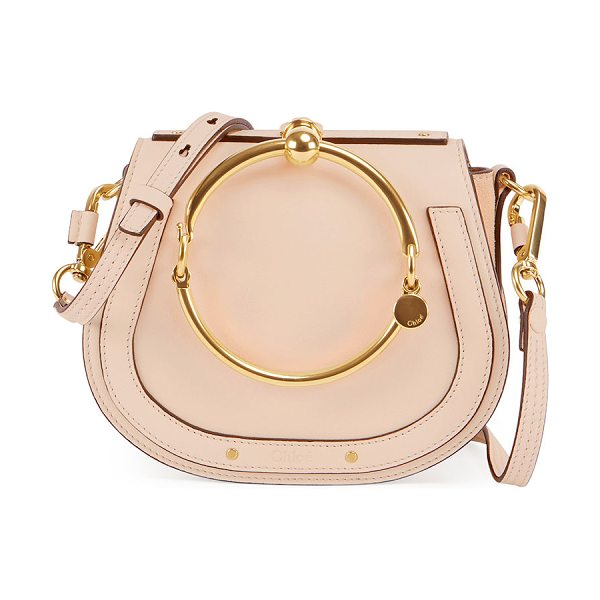 Chloe Nile Small Bracelet Crossbody Bag in pink - Chloe smooth calfskin crossbody bag with suede sides....