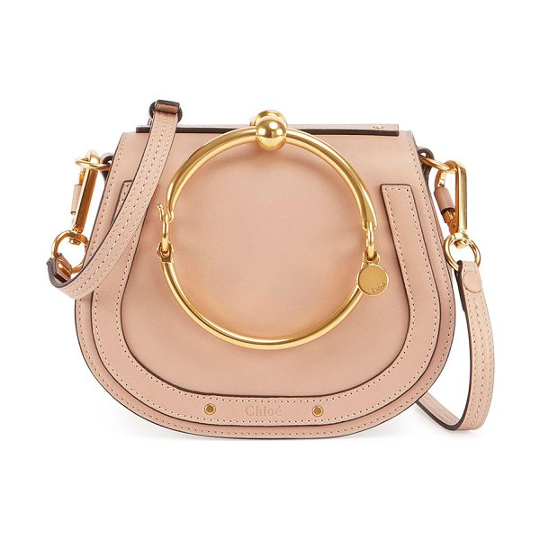 Chloe Nile Small Bracelet Crossbody Bag in beige - Chloe smooth calfskin crossbody bag with suede sides....