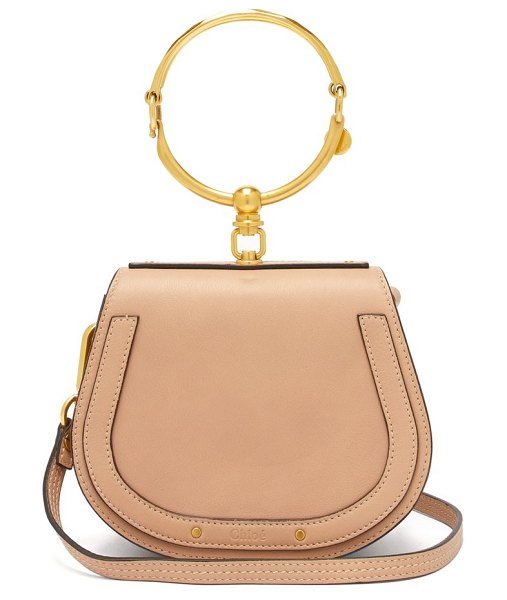 Chloe nile small leather and suede cross body bag in light pink