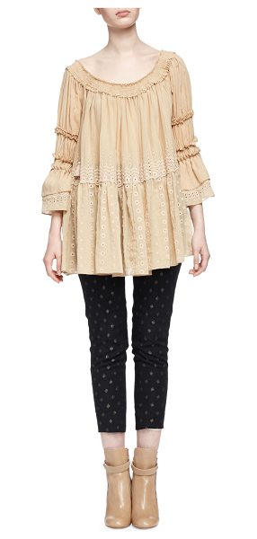 CHLOE Off-The-Shoulder Eyelet Peasant Top - Chloe voile peasant blouse with broderie anglaise eyelet...