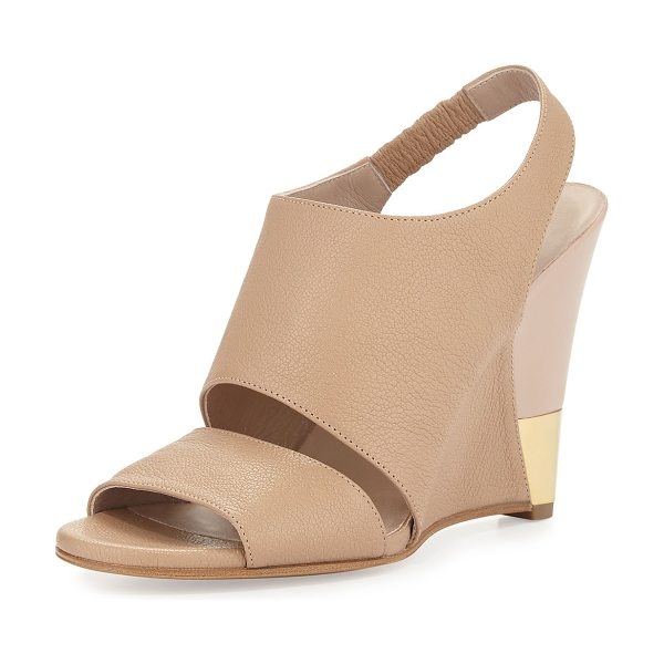 "Chloe Open-toe leather wedge sandal in nude - Chloe sandal with tumbled leather upper. 4"" wedge heel..."