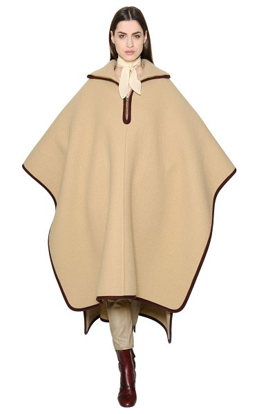 Chloe Oversized wool & cashmere cape in beige - Wide collar. Front half zip closure. Knit trim ....