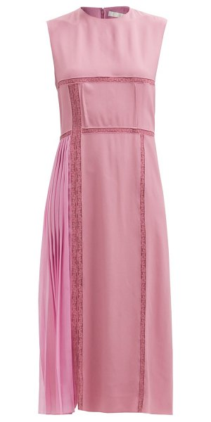 Chloe patchworked georgette and lace midi dress in pink
