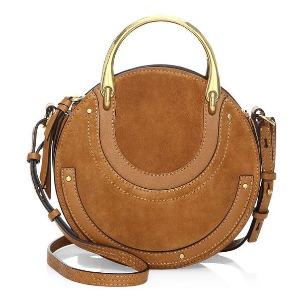 Chloe pixie suede crossbody bag in beige rose - Adorable suede crossbody bag in a round silhouette....
