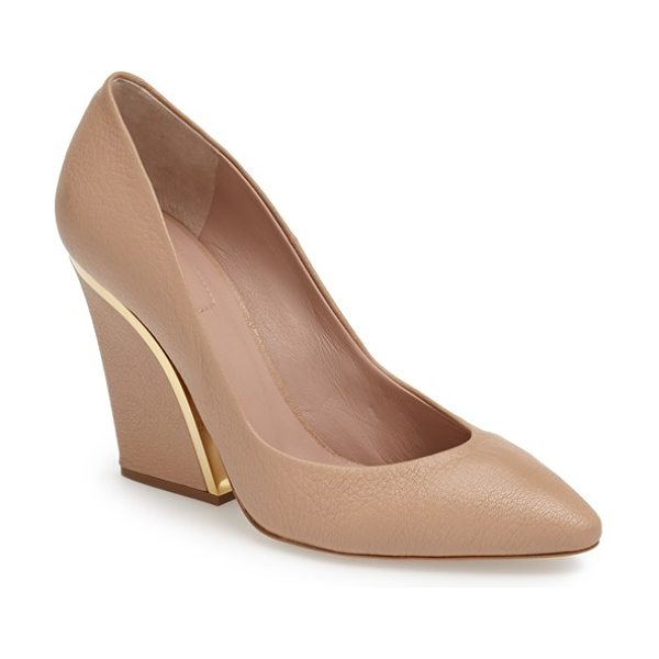 Chloe beckie pointy toe pump in beige rose - Gleaming goldtone hardware accentuates the curvaceous...
