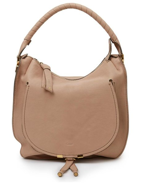 Chloe Pure marcie hobo bag in nude - Topstitched detail, metal-tipped pull tabs and a...