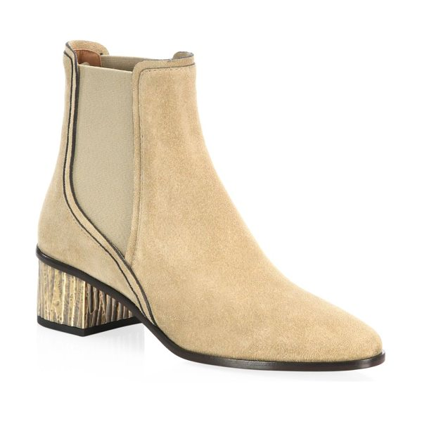 Chloe qassie suede chelsea boots in lightkhaki - Suede chelsea boots with twin elasticated panels. Block...