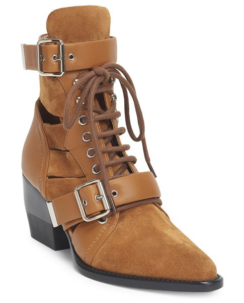 Chloe rylee suede booties in natural - Lace-up booties crafted in soft suede with cutouts....