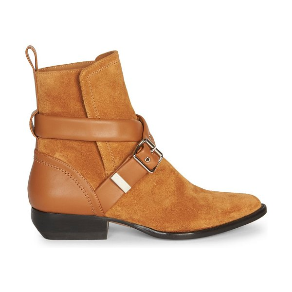 Chloe rylee buckle suede ankle boots in natural