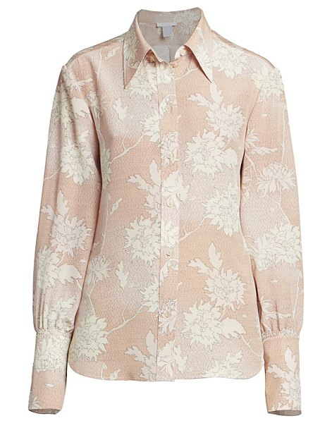 Chloe scale-print floral silk blouse in cloudy rose