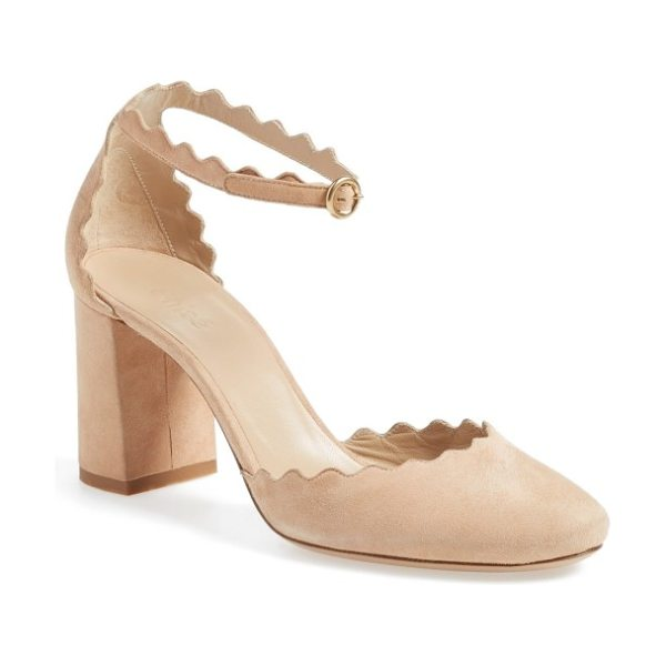 Chloe scalloped ankle strap d'orsay pump in elephant grey - Supple suede kidskin and a scalloped topline provide...