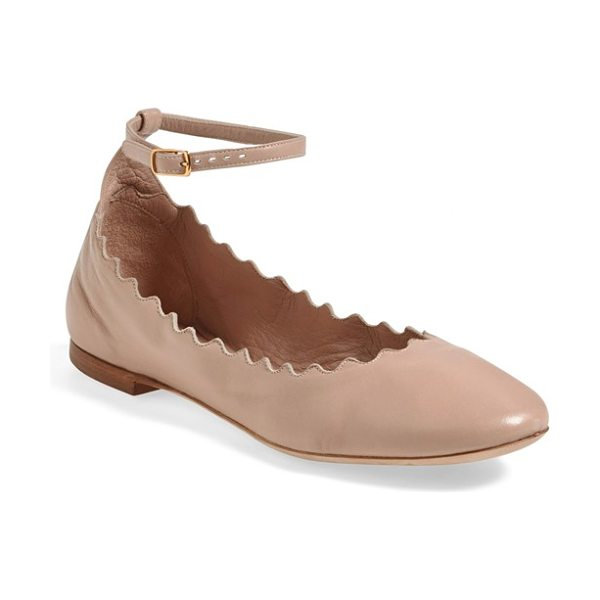 Chloe scalloped ankle strap flat in pink leather - A scalloped topline lends playful, feminine style to a...
