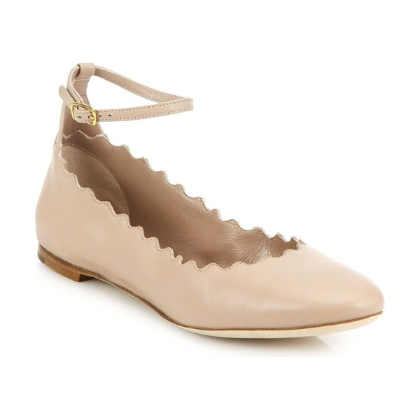 Chloe Scalloped leather ankle-strap flats in pink - A signature scalloped finish lends a sweet twist to...