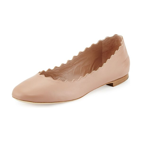 "Chloe Scalloped Leather Ballerina Flat in nude - Chloe ballerina in soft napa leather. 0.3"" flat stacked..."