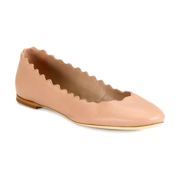 Chloe lauren leather ballet flats in taupe